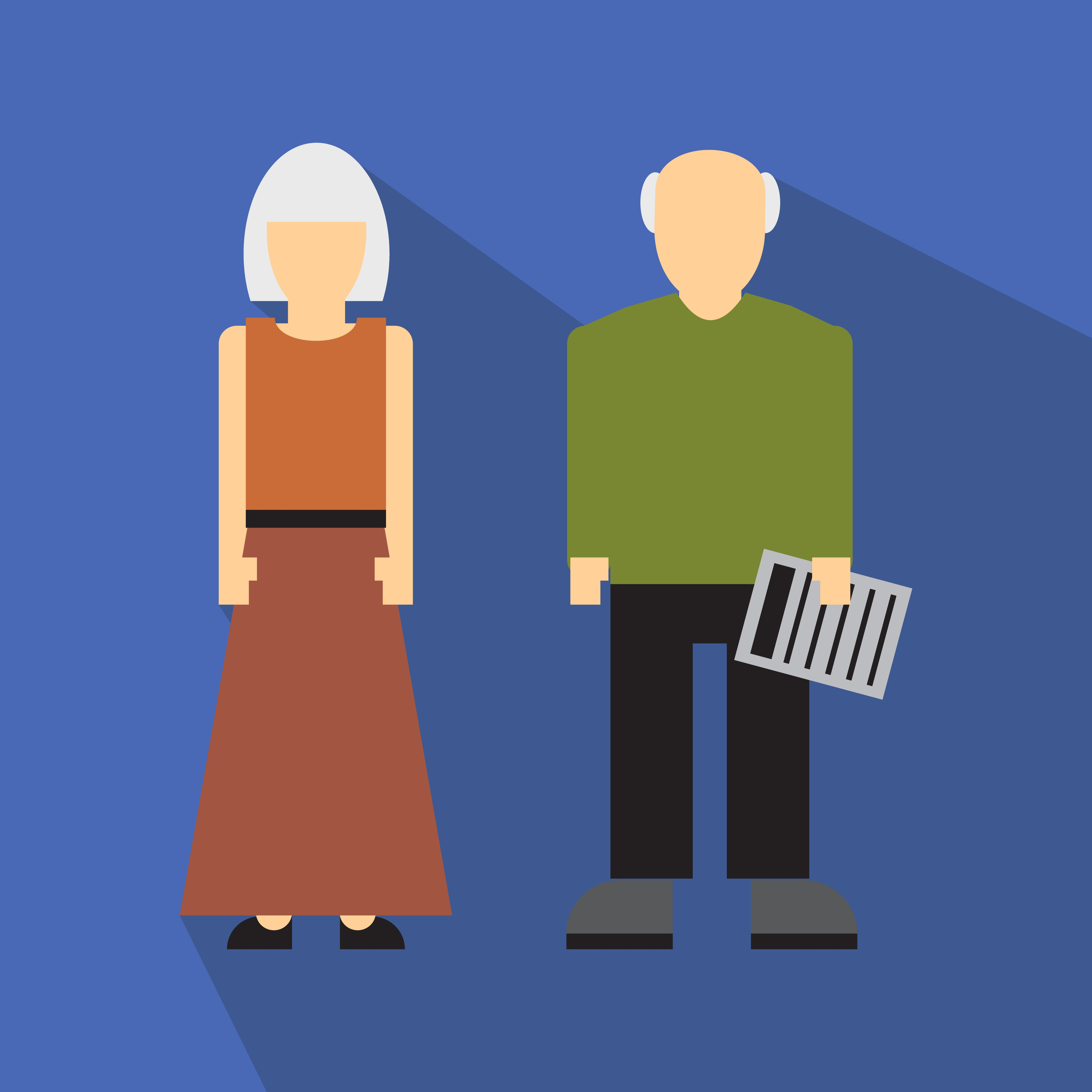 Man and woman in old age flat icon isolated on white background